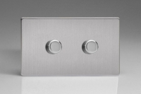 Varilight V-Pro High Power Series 2 Gang 10-300W Trailing Edge LED Dimmer Screwless Brushed Steel
