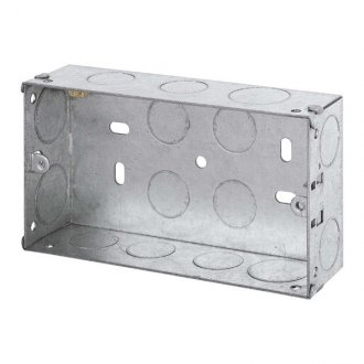 WBOXD35 Metal 35mm Deep Wall Box (Knock-out) For double sockets etc