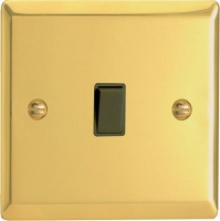 Varilight 1 Gang 10 Amp Push-to-make, Bell Push, Retractive Black Switch Classic Victorian Brass