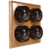 4 Gang Bakelite Switch Brown Dolly On A Solid Medium Oak Base