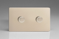 Varilight V-Pro Series 2 Gang 0-120W Trailing Edge LED Dimmer Screwless Satin Chrome