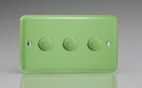 Varilight V-Dim Series 3 Gang 60-400 Watt Dimmer Beryl Green