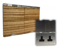 2G 13A Unswitched Floor Socket Zebrano Wood