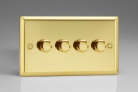 Varilight V-Dim Series 4 Gang 40-250 Watt Dimmer Victorian Brass