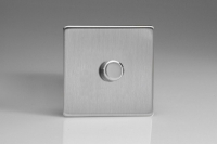 Varilight V-Plus Series 1 Gang 40-500 Watt/VA Dimmer Screwless Brushed Steel