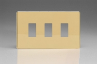 Varilight 3 Gang Power Grid Screwless Faceplate Including Screwless Power Grid Frames Screwless Polished Brass