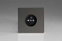 Varilight Euro Fixed Range 1 Gang 16 Amp Euro (Pin Earth) Flush Design Socket European Screwless Iridium Black