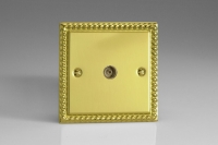 Varilight 1 Gang Co-axial TV Socket Classic Georgian Brass