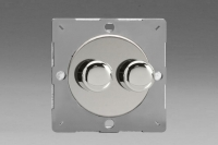 Varilight European Polished Chrome VariGrid V-Dim Thermal Series 2 Gang 1 or 2 Way 40-250 Watt Dimmer