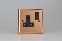 Varilight 1 Gang 13 Amp Double Pole Switched Socket Classic Polished Copper