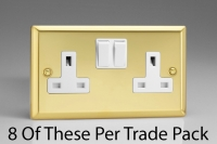Varilight 2 Gang 13 Amp Double Pole Switched Socket, Trade Pack of 8 Sockets Classic Victorian Brass