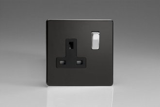Varilight 1 Gang 13 Amp Double Pole Switched Socket Screwless Premium Black