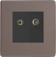 Varilight 2 Gang Comprising of Black Co-axial TV and Satellite TV Socket Screwless Pewter