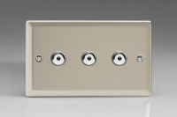 Varilight V-Pro IR Series 3 Gang 0-100 Watts Master Trailing Edge LED Dimmer Satin Chrome