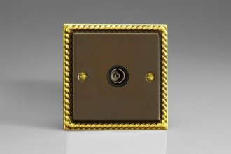 Varilight 1 Gang Black Isolated Co-axial TV Socket Classic Antique Georgian Effect Finish