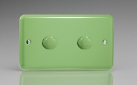 Varilight V-Com Series 2 Gang 20-300 Watt Leading Edge LED Dimmer Beryl Green