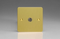 Varilight 1 Gang Co-axial TV Socket Ultra Flat Brushed Brass