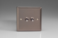Varilight 2 Gang 10 Amp Toggle Switch Classic Pewter