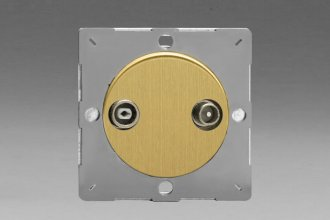 Varilight European Brushed Brass VariGrid 2 Gang Radio and TV Termination Socket