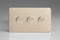 Varilight V-Pro Series 3 Gang 0-120W Trailing Edge LED Dimmer Screwless Satin Chrome