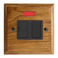 Wood 1 Gang 13Amp Switch Fuse Spur with Neon in Solid Medium Oak