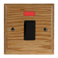 Wood 1 Gang Double Pole 20Amp Rocker Switch with Neon in Solid Oak