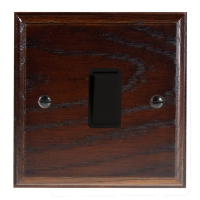 Wood 1 Gang 2Way 10Amp Rocker Switch in Solid Dark Oak