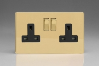 Varilight 2 Gang 13 Amp Double Pole Switched Socket Screwless Polished Brass