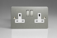 Varilight 2 Gang 13 Amp Double Pole Switched Socket Ultra Flat Brushed Steel