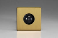 Varilight Euro Fixed Range 1 Gang 16 Amp Euro (Pin Earth) Flush Design Socket European Screwless Brushed Brass