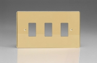 Varilight 3 Gang Power Grid Faceplate Including Power Grid Frame Dimension Polished Brass