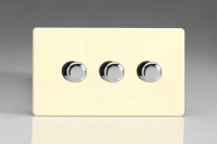 Varilight V-Pro Series 3 Gang 0-120W Trailing Edge LED Dimmer Screwless White Chocolate