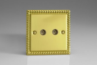 Varilight 2 Gang Co-axial TV Socket Classic Georgian Polished Brass Coated
