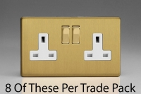 Varilight 2 Gang 13 Amp Double Pole Switched Socket, Trade Pack of 8 Sockets Screwless Brushed Brass
