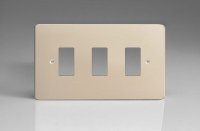 Varilight 3 Gang Power Grid Faceplate Including Power Grid Frame Dimension Satin Chrome