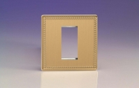 Varilight 1 Gang Data Grid Face Plate For 1 Data Module Width Screwless Beaded Brushed Brass