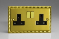 Varilight 2 Gang 13 Amp Double Pole Switched Socket Classic Georgian Brass