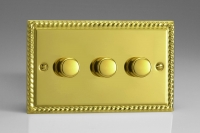 Varilight V-Pro Series 3 Gang 0-120W Trailing Edge LED Dimmer Georgian Brass