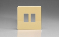 Varilight 2 Gang Power Grid Screwless Faceplate Including Screwless Power Grid Frames Screwless Polished Brass