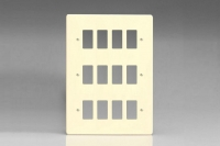 Varilight 12 Gang Power Grid Faceplate Including Power Grid Frames Dimension White Chocolate