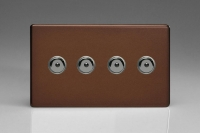 Varilight V-Pro IR Series 4 Gang 0-100 Watts Master Trailing Edge LED Dimmer Screwless Mocha