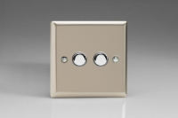 Varilight V-Pro IR Series 2 Gang Slave Unit for use with V-Pro IR Master Dimmers Satin Chrome