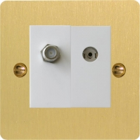 Varilight 2 Gang Comprising of White Co-axial TV and Satellite TV Socket Ultra Flat Brushed Brass