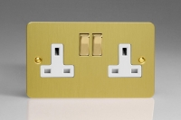 Varilight 2 Gang 13 Amp Double Pole Switched Socket Ultra Flat Brushed Brass