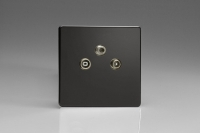 Varilight Euro Fixed Range 3 Gang RTV and Satellite Termination Socket for Analogue and Digital RTV-SAT Installations European Screwless Premium Black