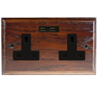 USB Charging Double Socket In Dark Oak With Black Trim