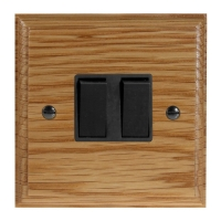 Wood 2 Gang 2Way 10Amp Rocker Switch in Solid Oak
