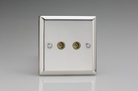 Varilight 2 Gang Co-axial TV Socket Classic Polished Chrome