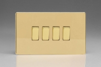 Varilight 4 Gang 10 Amp Switch Screwless Polished Brass