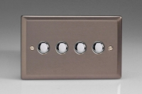 Varilight 4 Gang 6 Amp Push-on/off Impulse Switch Classic Pewter